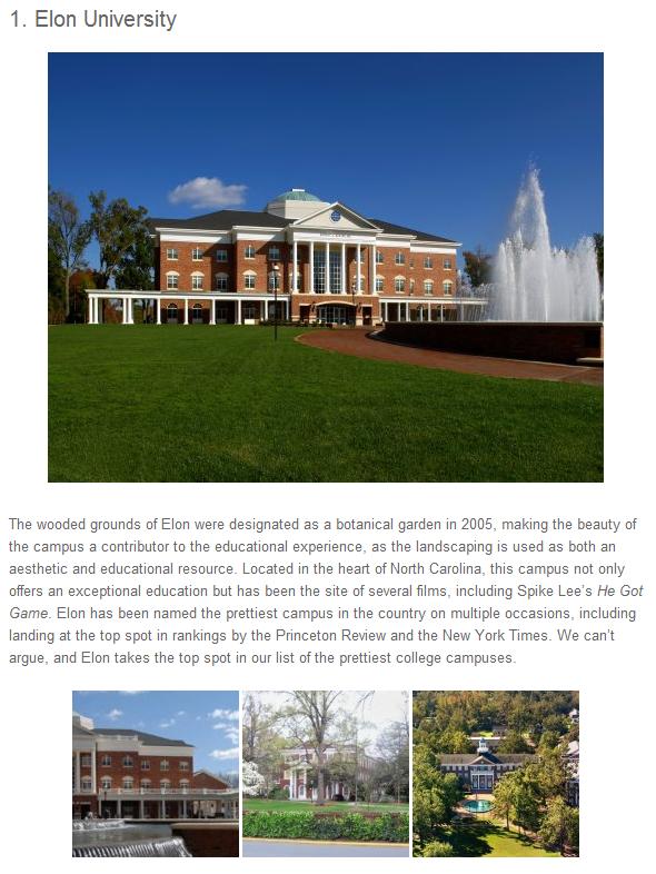 Elon University, most beautiful campus