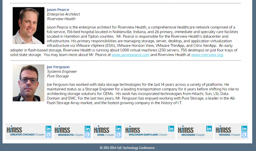 Speaking at HIMSS Midwest Fall Technology Conference