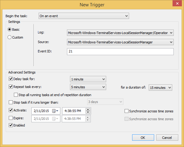 Trigger Powershell to run when noticing Event 21.