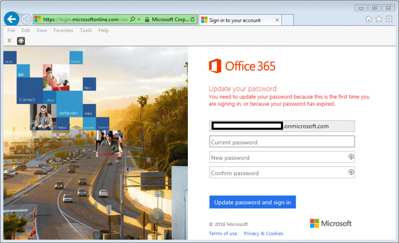 Unable to update Office 365 password