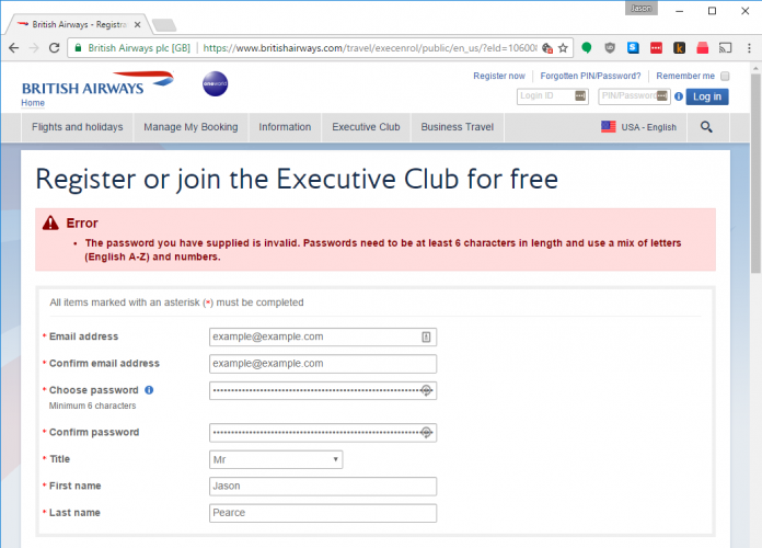 British Airways says my randomly-generated password is invalid
