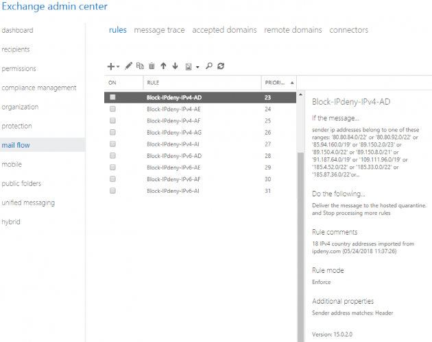 Use IPdeny to create Mail flow rules (transport rules) in Exchange Online
