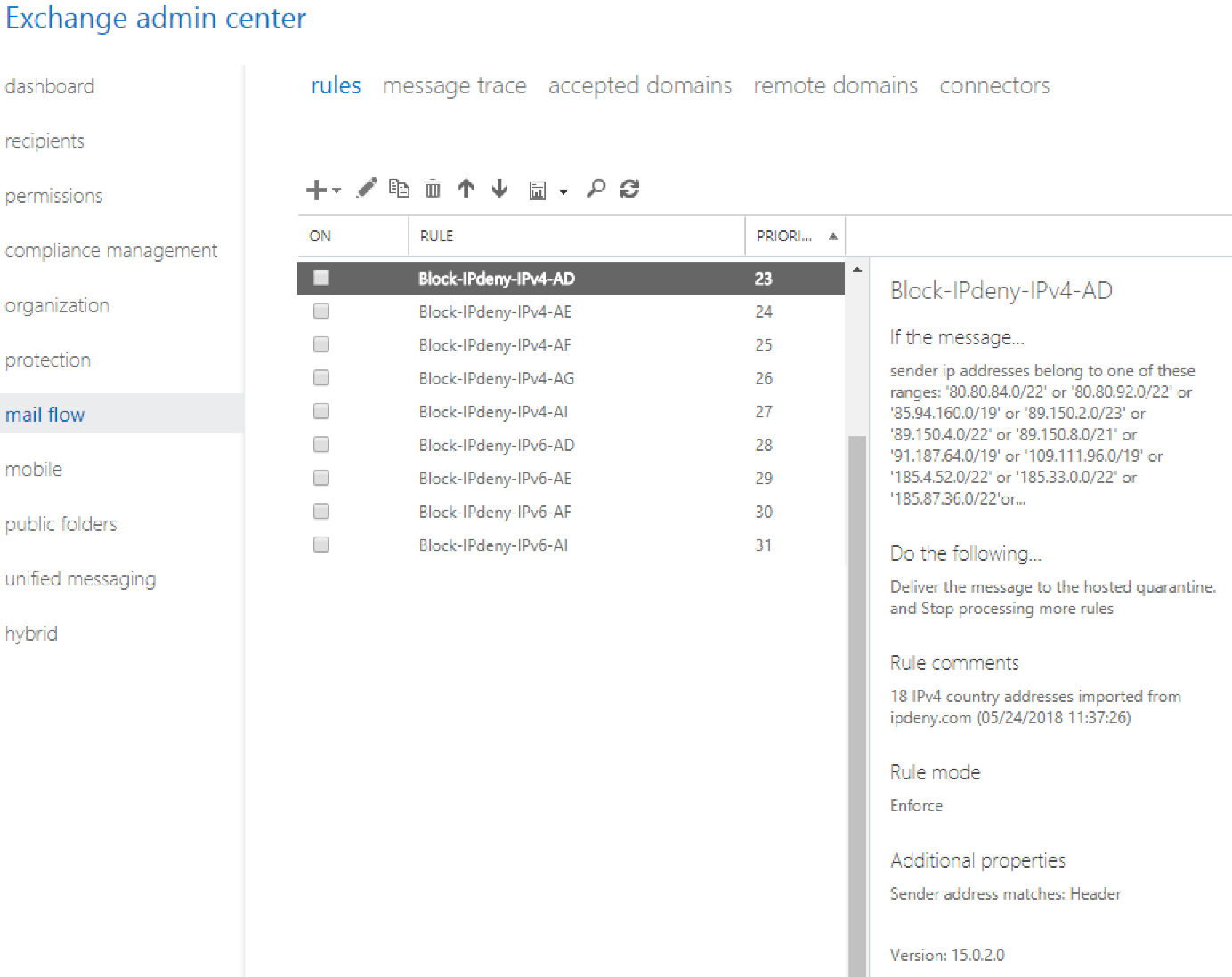 Use IPdeny to create Mail flow rules (transport rules) in Exchange