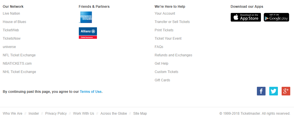 Ticketmaster requires users to agree to their Terms of Use before reading them