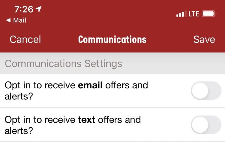 Papa John's Communications Settings
