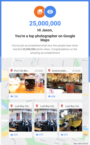 My Google Maps photos have been viewed more than 25 million times